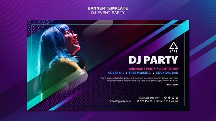Dj Party Woman With Headphones Banner