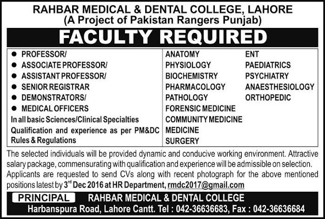 Doctors Jobs in Rahbar Medical & Dental College