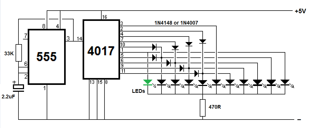 Sequential LED flasher using IC 4017 (KNIGHT READER) ~ Simple Projects