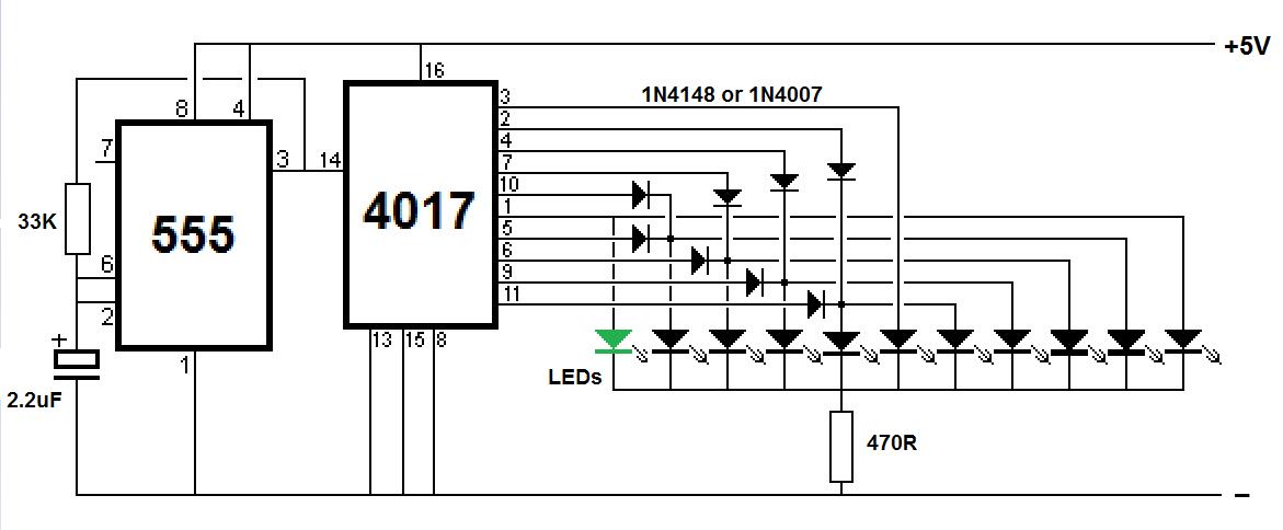 4017 led pattern flasher