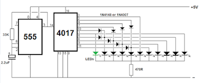 Sequential LED flasher using IC 4017 (KNIGHT READER)