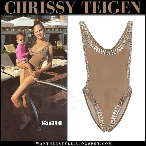 Chrissy Teigen in brown studded swimsuit norma kamali marissa what she wore june 17 2017