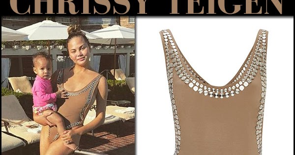 08ca68852a Chrissy Teigen in brown studded swimsuit on June 17 ~ I want her style -  What celebrities wore and where to buy it. Celebrity Style