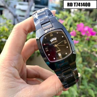 Đồng hồ nam mặt chữ nhật dây đá ceramic đen RD T741400
