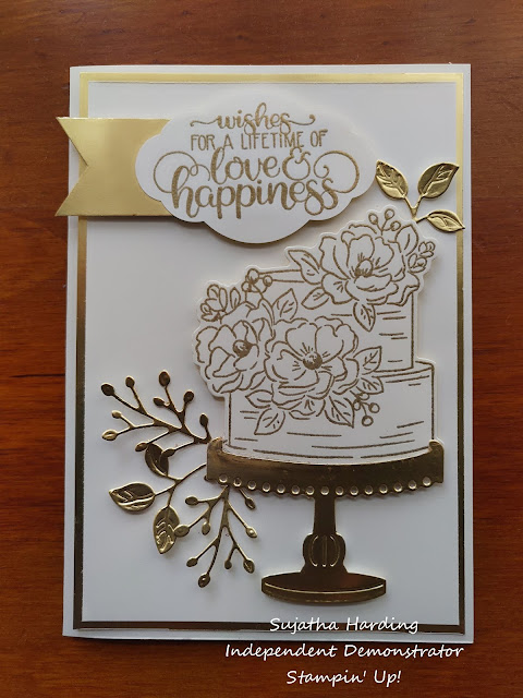 Wedding card  stampin' Up gold white Happy birthday
