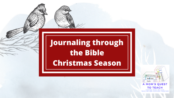 Text: Journaling through the Bible: Christmas Season; background snow scene with two birds