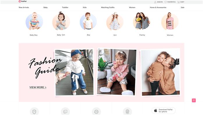 ペイパル決算可能な子供服通販PatPatの通販トップページの画像