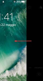 Fotocamera da schermata blocco