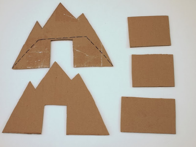 cut out your cardboard mountain pieces