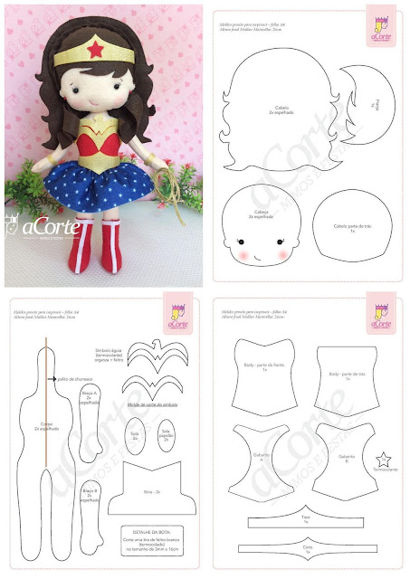 Wonder Woman Doll Free Printable Template