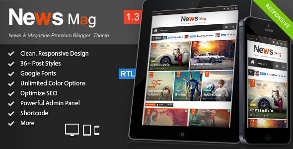 News Mag V1.3 - Responsive Magazine Blogger Template Free Download