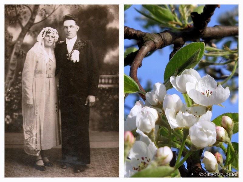 dziadkowie, babcia, dziadek, stare zdjęcie, rodzinne zdjecie, jablon, kwitnaca jablon, szarlotka, rodinne opowiesci, rodzinne receptury, zycie od kuchni