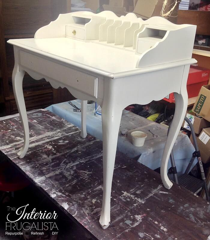 French Provincial Secretary Desk Makeover Before