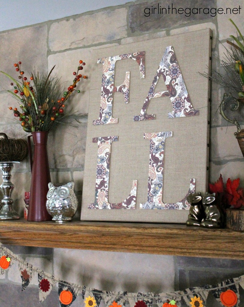 Easy fall sign using letters
