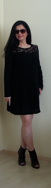Black little dress, long sleves black dress, black dress with lace detail