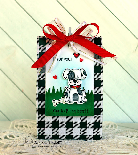 I WUF You, You ARF the Best with Newton's Nook Designs by Larissa Heskett using Puppy Playtime, Fancy Edges Tag, Land Borders Die #newtonsnook #newtonsnookdesigns #puppyplaytime #valentines