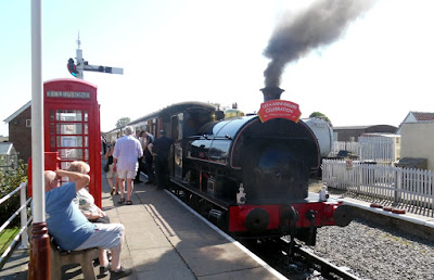 A steam train at Ludborough Station on the Lincolnshire Wolds Railway on August 26, 2019 when a bank holiday service was in operation