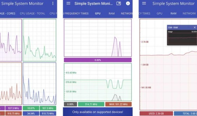 Aplikasi Cek Perangkat Android Berfungsi Baik atau Tidak - Simple System Monitor