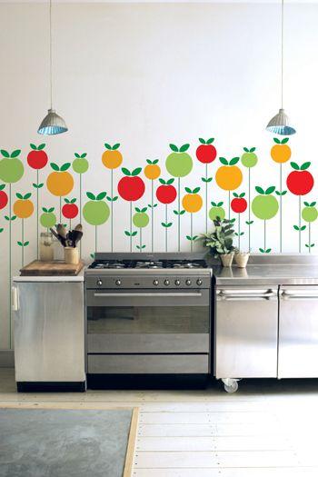 adesivos de frutas na cozinha