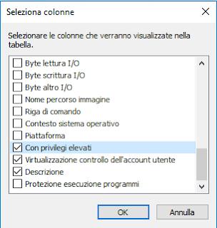 Seleziona colonne, Con privilegi elevati e Virtualizzazione controllo dell'account utente
