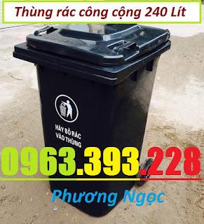 Thùng rác nhựa 240 lít nắp kín,thùng rác 2 bánh xe nhựa HDPE,thùng rác nhựa 240L TR240L5