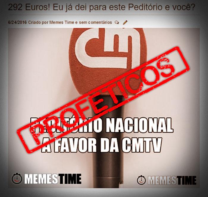 Meme Antigo a sugerir fazer um Peditório Nacional a favor da CMTV – Proféticos