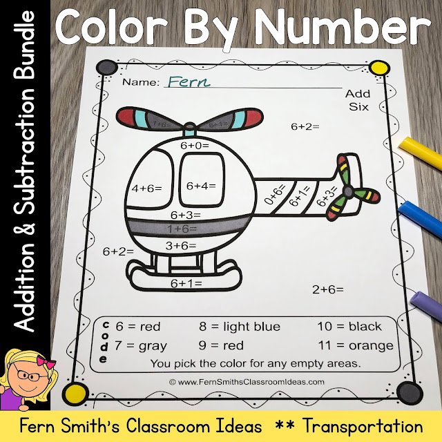 Color By Number Addition and Subtraction Transportation With Free Bonus Transportation Coloring Pages