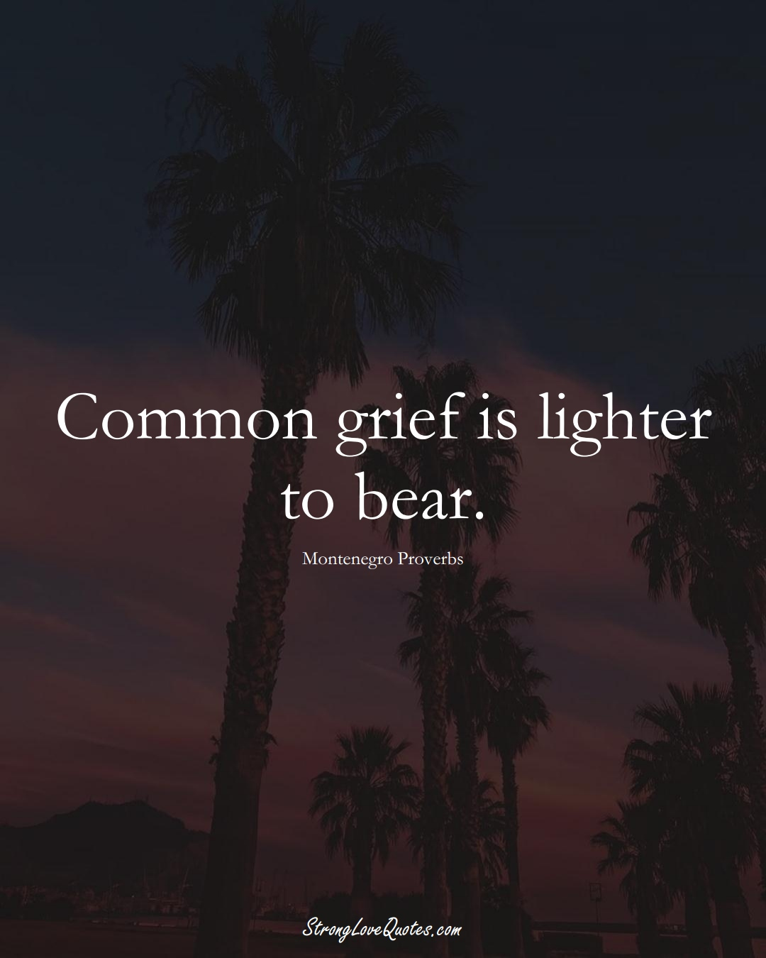 Common grief is lighter to bear. (Montenegro Sayings);  #EuropeanSayings