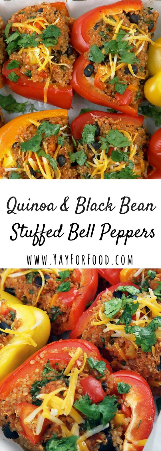 QUINOA AND BLACK BEAN STUFFED BELL PEPPERS #quinoa #blackbean #stuffed #pepper #vegetarian #vegetarianrecipes