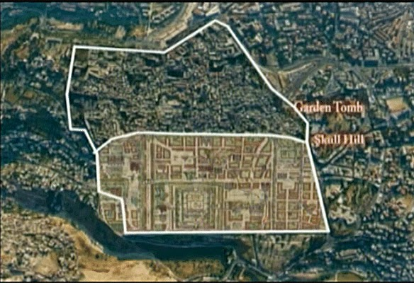 Photo of ancient paintings of the old city of Jerusalem showing the garden tomb where it is today.