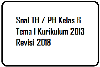 Download Soal TH / PH Kelas 6 Tema 1 Kurikulum 2013 Revisi 2018