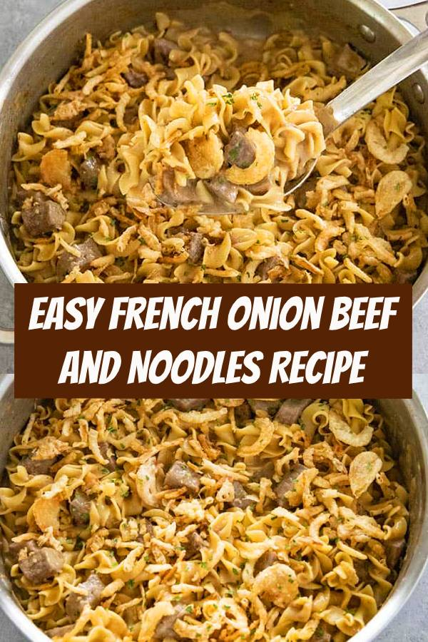 Creamy French Onion Beef and Noodles is a mouthwatering, cozy, dinner that is easy enough to make any day of the week! One pot is all you need for this rich and satisfying beef and noodles! #beef #noodles #dinner #easyrecipes #easydinner