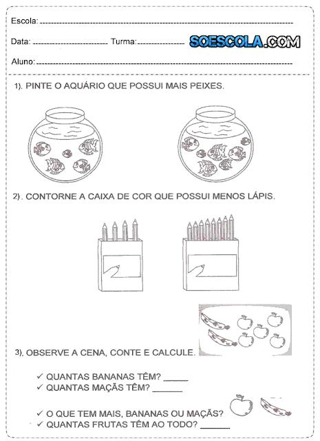 Diversas Atividades de matemática do 1° ano para imprimir