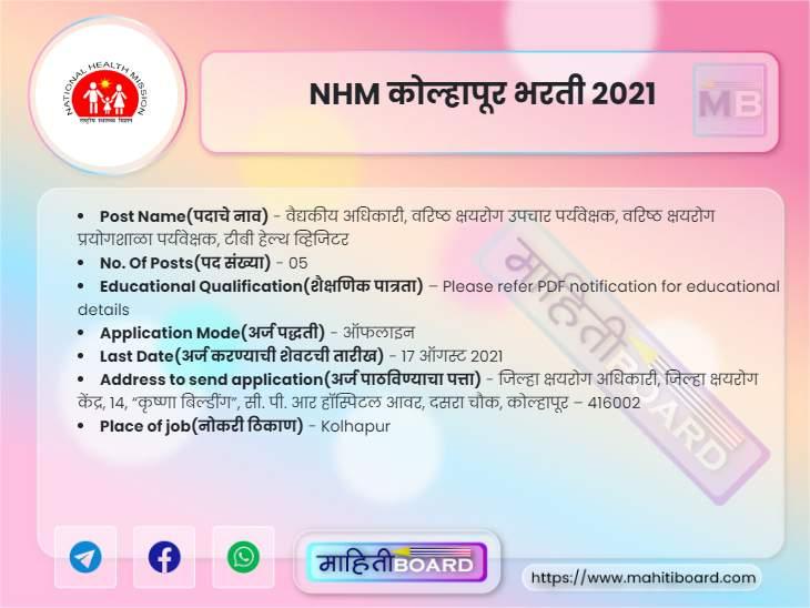 NHM Kolhapur Bharti 2021