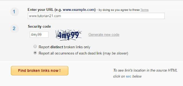 Cara menghapus broken link lewat website brokenlinkchecker.com