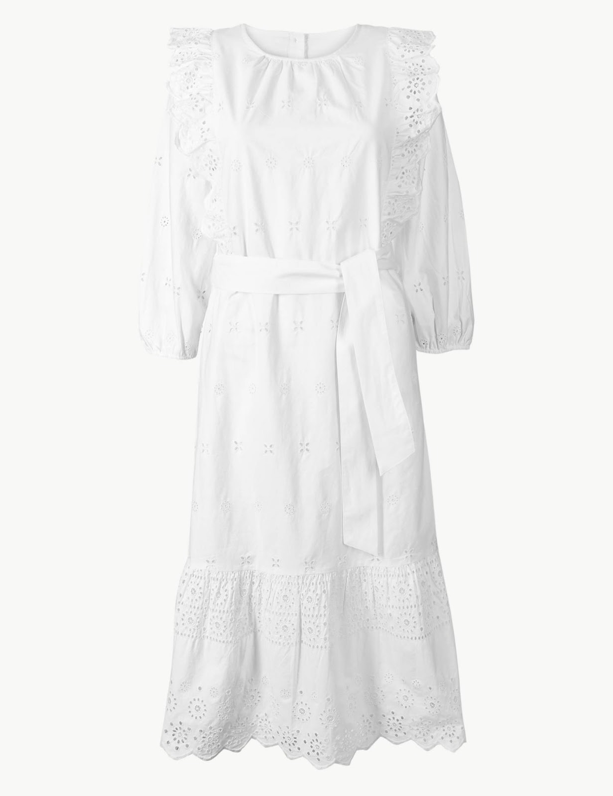 marks and Spencer pure cotton embroidered waisted midi dress