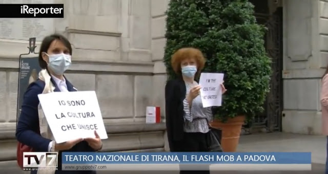 Demolition of the National Theater, Albanians and Italians citizens protesting in Padua