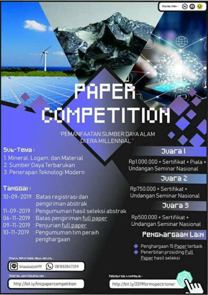 Lomba Paper SPECTRIONER Nasional 2019 Untuk Mahasiswa