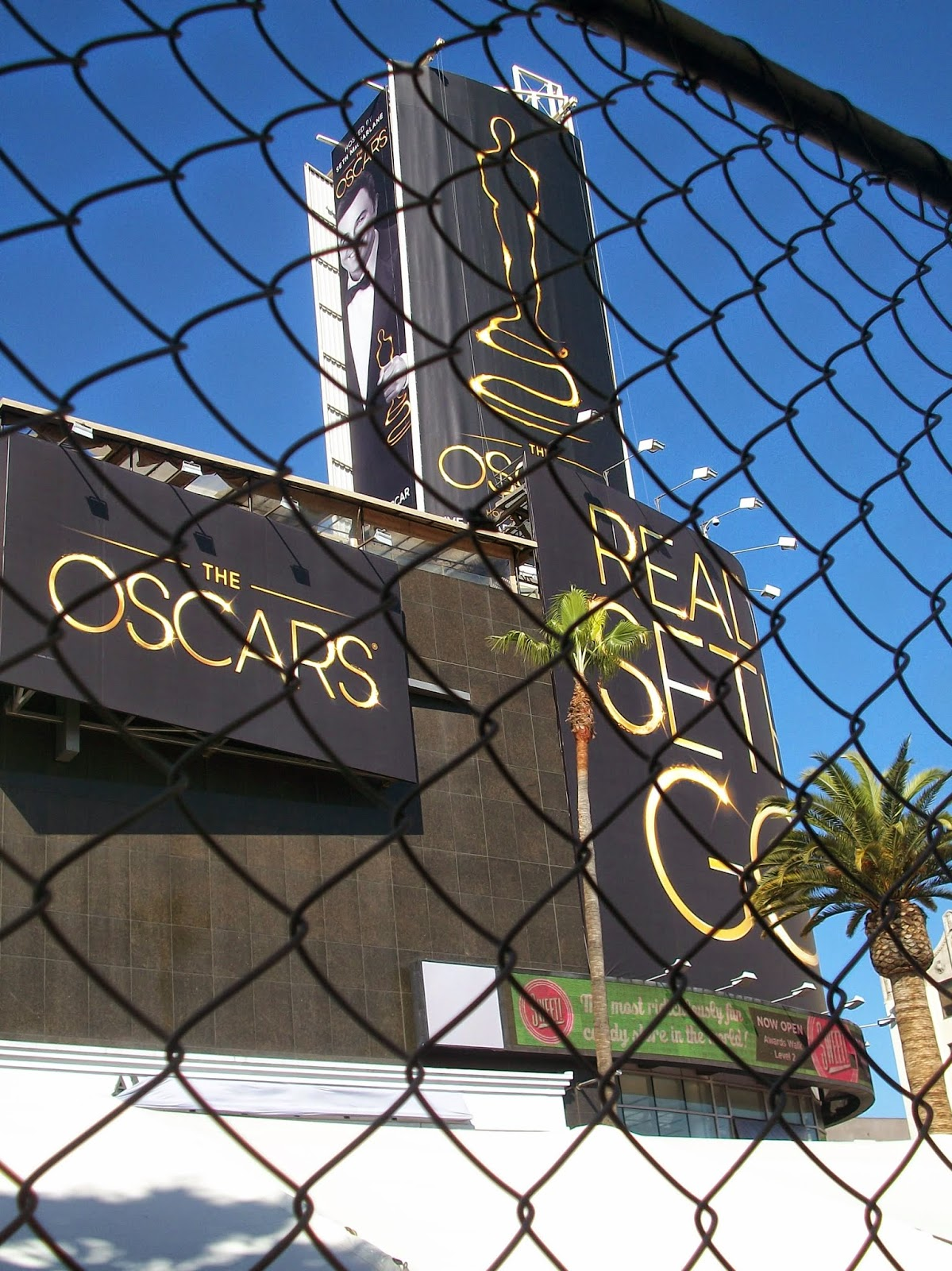 Signs advertising the Oscars at Hollywood and Highland Center