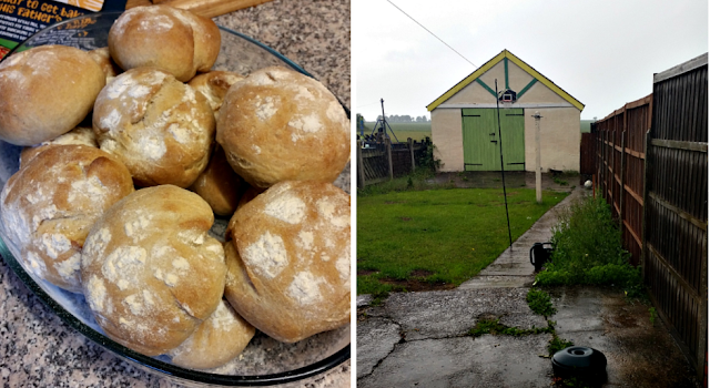 Home made bread rolls and my back garden in the rain