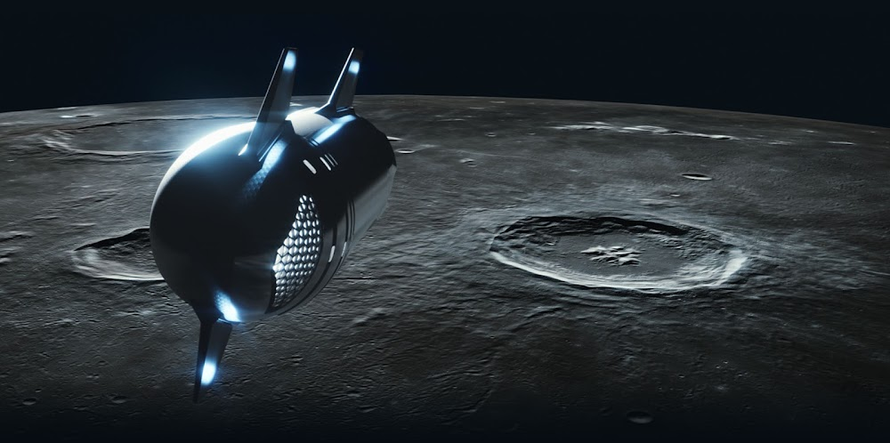 Updated design (2021) of SpaceX's dearMoon Starship - orbiting the Moon