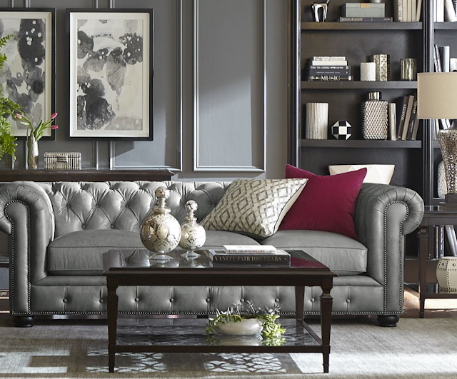 Havertys Silverton Gray Leather Chesterfield Sofa | via monicawantsit.com