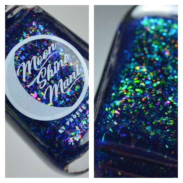 blue jelly nail polish with color shifting flakies in a bottle