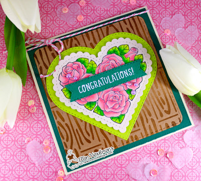 Congratulations card by Ellen Haxelmans | Heartfelt Roses Stamp set, Heart Frames Die Set, Banner Trio Die Set, Frames Squared Die Set and Hardwood Stencil by Newton's Nook Designs