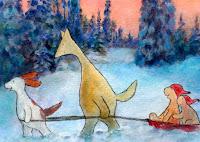 A postcard illustration of Hulmu and Haukku dog in sled team