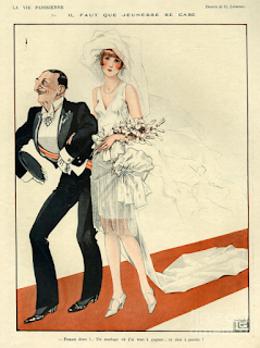 Image from 1920s French magazine 'La Vie Parisienne.' Shows a young woman getting married to an elderly but wealthy man.