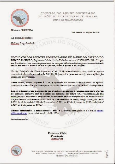 oficio%2Bsalario%2Bacs Modelo de Ofício para Requerimento do Piso Nacional dos ACS