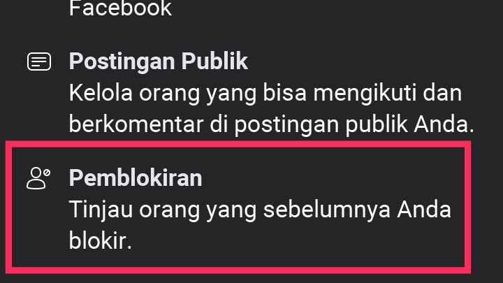 cara menyembunyikan orang yang diblokir di fb