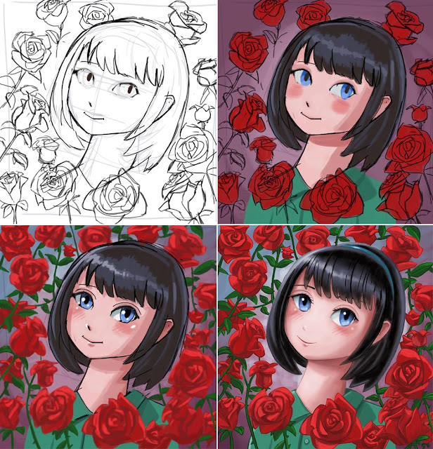 girl head anime art WIP stages