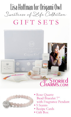 "LISA HOFFMAN FOR ORIGAMI OWL SWEETNESS OF LIFE FRAGRANCE BEADS WITH ROSE QUARTZ BEAD BRACELET 7"" GIFT SET available at StoriedCharms.com"